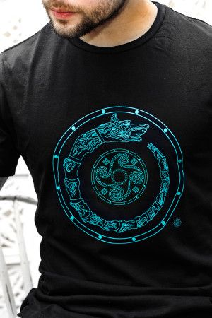 Tricou draconul dacic și simbol solar – Negru/ Shirt: Dacian dragon and the solar symbol - black