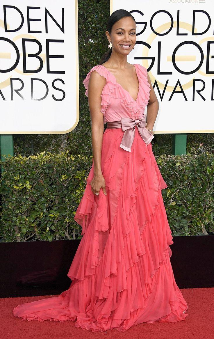 Зои Салдана в Gucci, украшениях Bvlgari на церемонии вручения наград премии «Золотой глобус» в Лос-Анджелесе, 08 января 2017 г.