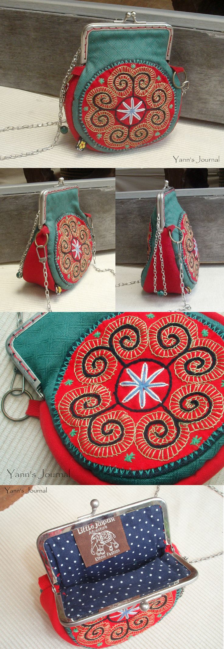metal frame purse with ethnic embroidery