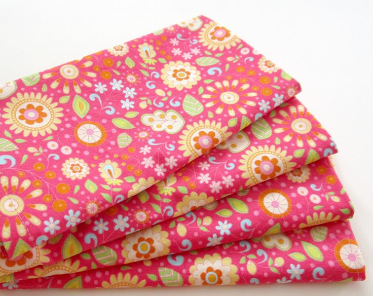 Cloth Napkins - Set of 4 - Hot Pink Flowers Floral - Large Dinner Napkins, Table Napkins, Everyday Napkins by ClearSkyHome on Etsy