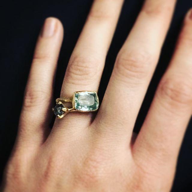 Diamond and Aquamarin #jewelry #schmuck #kjeld #kjeldberlin #handmade #handmadejewelry #gold #diamond #diamant #aquamarin #ring #goldsmith #goldschmied #berlin #schmuckberlinkjeldberlin