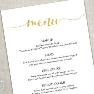 Gold Menu Download/ Calligraphy style script/ Elegant 5x7 inch card / Wedding or Dinner Party/PrintableDownload with Editable Text /Vertical