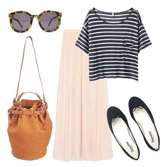 casual weekend outfit {laid-back and feminine}: Schools Parties, Casual Summer, Outfit Ideas, Casual Outift, Casual Weekend Outfit, Summer Outfits, Winter Outfit, Stripes Tees, Maxi Skirts