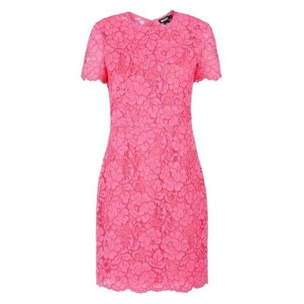 Dkny Pink Lace Dress Liked On Polyvore Featuring Dresses