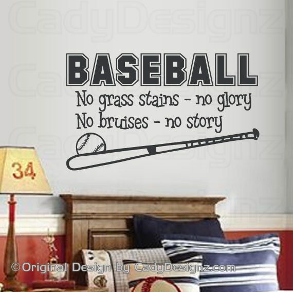 Baseball Sports Vinyl Wall Decal - Boys Room Decor - Children Decor - No Grass Stains No Glory - Sport Decal -  32x19 LARGE