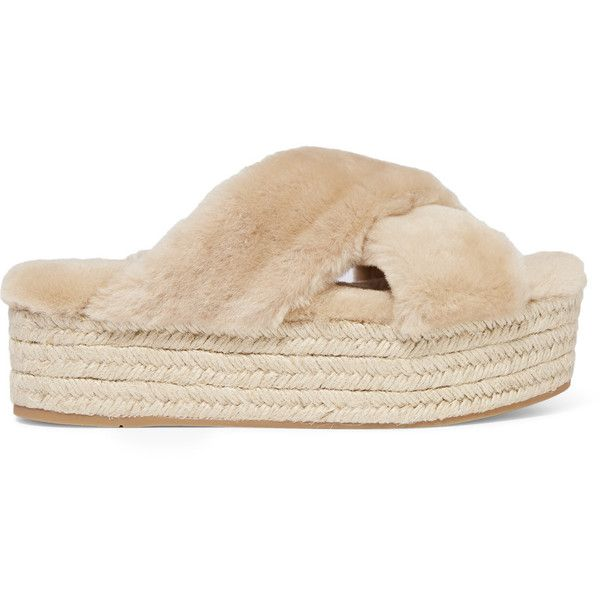 Miu Miu Shearling espadrille platform sandals ($520) ❤ liked on Polyvore featuring shoes, sandals, slip-on shoes, beige espadrilles, chunky platform sandals, woven sandals and miu miu espadrilles