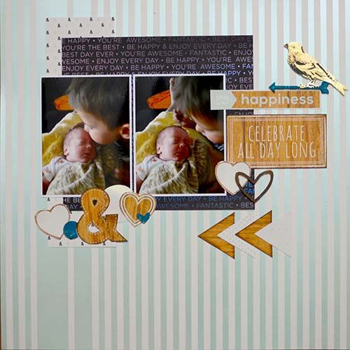 Happiness Layout by Design Team Member Jeri Vann Creations using the DCWV Minty Lace Stack.