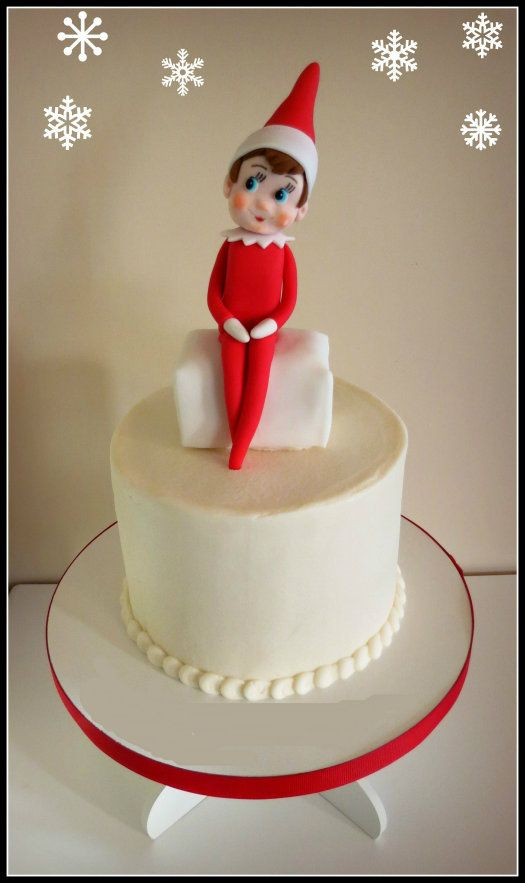 The Elf on the Shelf this time of year so I had to turn the little guy into a cake topper! #ElfontheShelf #caketopper #Christmas #ChristmascaketopperShelf Toppers, Cake Toppers Tutorials, Elf On Shelf, Cake Christmas, Cakejournal Com, Elf On The Shelf Cake, Cake Tutorials, Christmas Cake, Fondant Elf