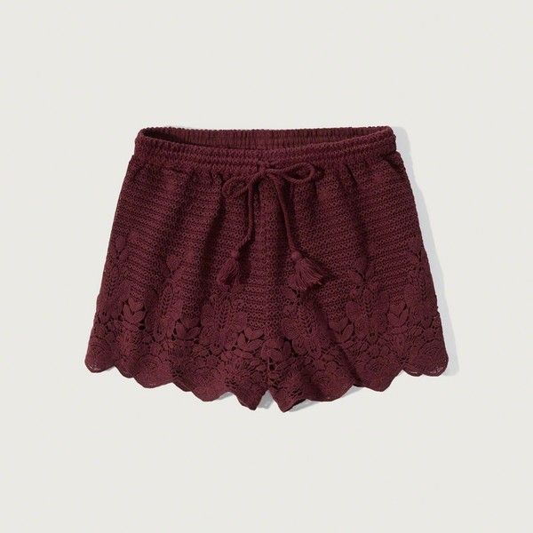 Abercrombie & Fitch Crochet Lace Soft Shorts ($50) ❤ liked on Polyvore featuring shorts, burgundy, crochet lace shorts, scallop hem shorts, burgundy shorts, tassel shorts and scalloped shorts