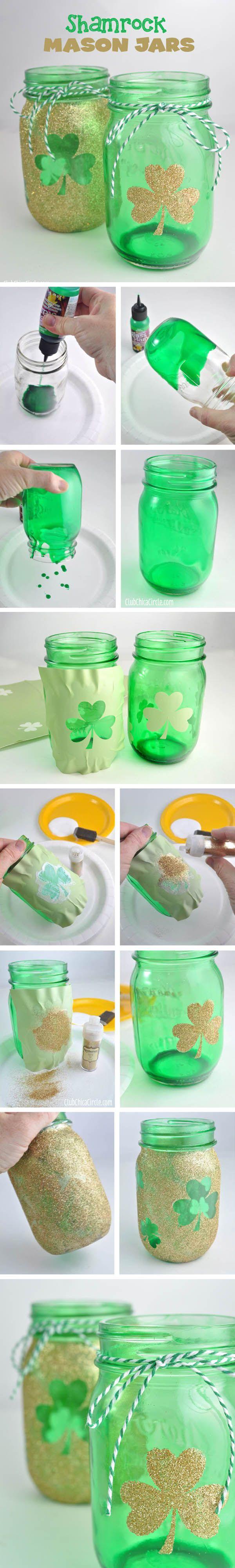 how to color and gilitter mason jar for weddings