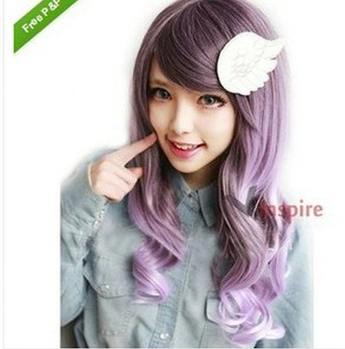 55 CM Long Curly Mixed Purple Fashion Stylish Harajuku ...