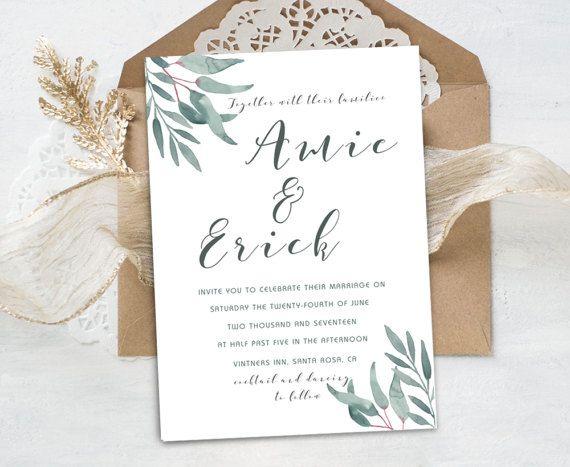 "Wedding invitation ""Amie Collection"" - Watercolor Eucalyptus,wedding invitations,elegant leaves,modern fine style,handmade,digintal files,design by Maraquela Watercolor"