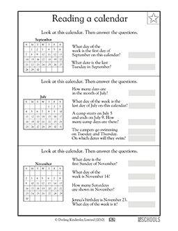1st grade math reading worksheets reading a calendar math worksheets for 1st and 2nd graders. Black Bedroom Furniture Sets. Home Design Ideas