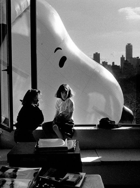 Macy's Thanksgiving Day Parade, NYC, 1988, by Elliott Erwitt, who took the photo from his home at 88 Central Park West.