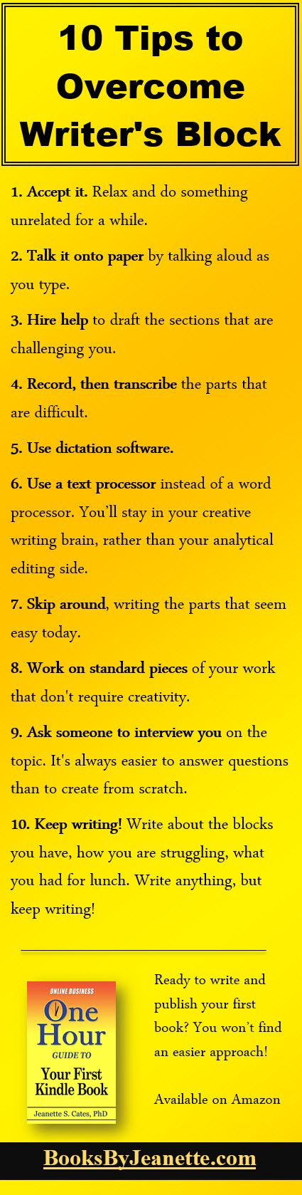 "I find a few of these helpful but the rest I completely disagree with. Nothing good ever comes from writing ""the easy scenes"" and then trying to piece them together and fill in the gaps. Trust me--I know."