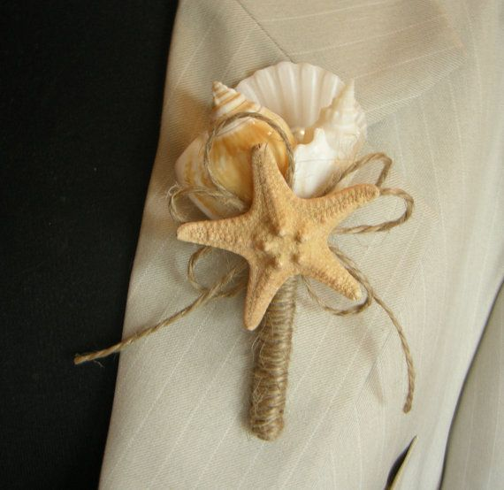 Shell Boutonniere   Starfish  Wedding Sea by superlunary on Etsy