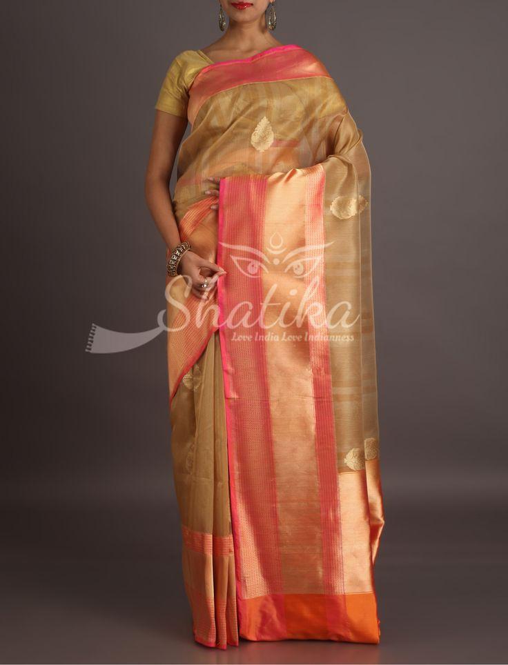 Aadhya Pink And Solid Gold Border Pallu Diaphanous Banarasi Organza Silk Saree