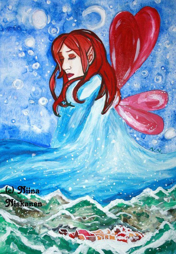 Winter Bringer Fantasy Art Print A5 / 5 x 7 Winter Christmas Yule Art Winter Fairy Illustration Watercolor Painting by Niina Niskanen