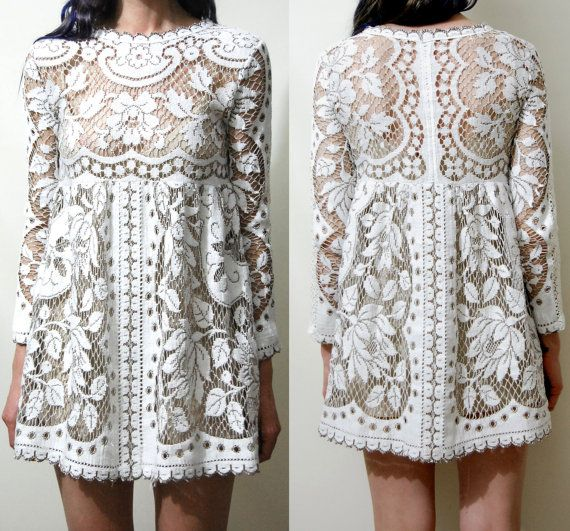 FULL LACE Babydoll DRESS Mini White/Beige Long от cruxandcrow