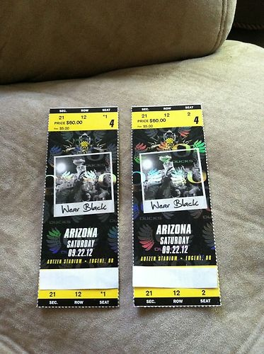Oregon Ducks Football vs Arizona Wildcats Tickets 09/22/12 (Eugene) | eBay