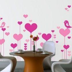 Λουλούδια καρδιές με ερωτευμένα πουλιά, αυτοκόλλητο τοίχου ,19,90 €,http://www.stickit.gr/index.php?id_product=751&controller=product