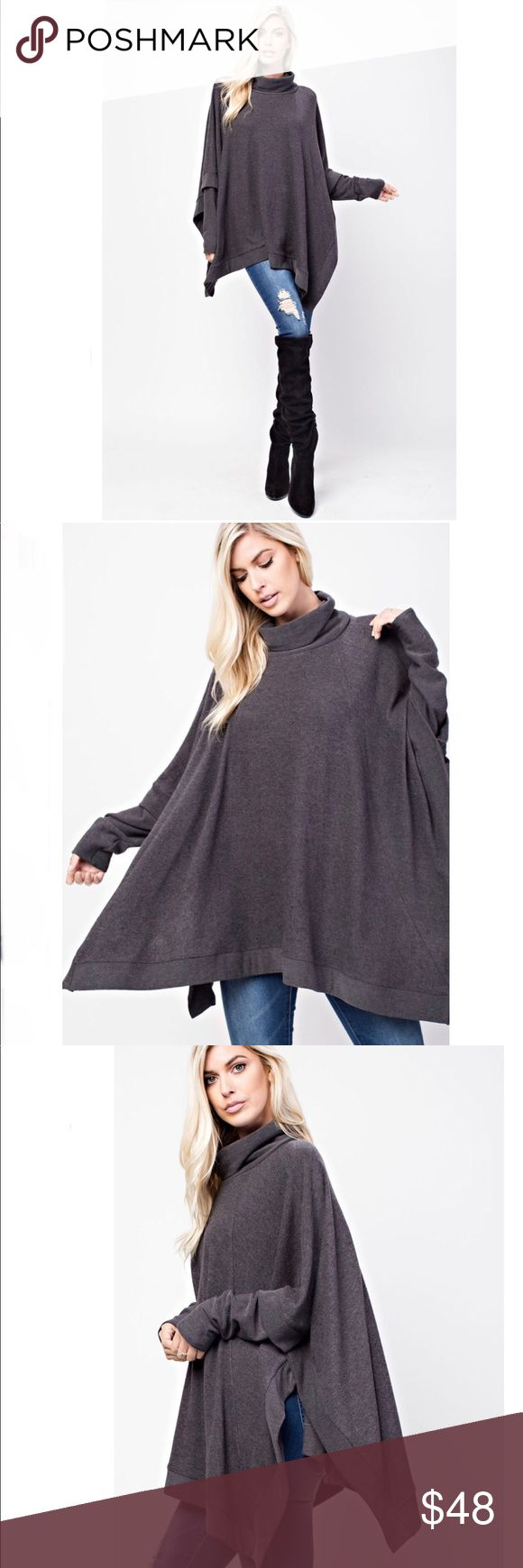 Long Sleeve Oversized Turtleneck Poncho Tunic HACCI BRUSHED, OVER SIZED TUNIC FEATURES A TURTLE NECK, LONG SLEEVES AND A SQUARE SHAPED SILHOUETTE.     79% POLY, 18% RAYON, 3% SPAN  Shop my closet and bundle 2+ items for a discount! 💕 143 Story Tops Tunics