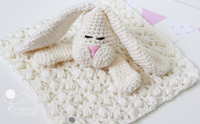 Free Crochet Pattern For Animal Security Blanket : Floppo the Bunny-security blanket pattern by Karapooz ...
