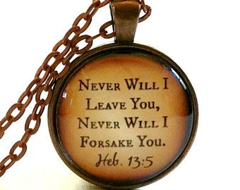 Bible Verse Necklace | Glass Pendant | Never Will I Leave You | Free Gift Box | Christian Gift Ideas | Scripture