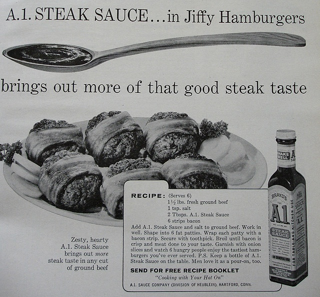 A.1. Steak Sauce with recipe for Jiffy Hamburgers Woman's Day - February 1962