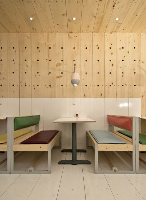 Love these soft colours surrounded by bare wood. Bestie Currywurst by Scott & Scott Architects