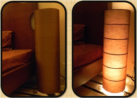 Floor lamp made from raw silk