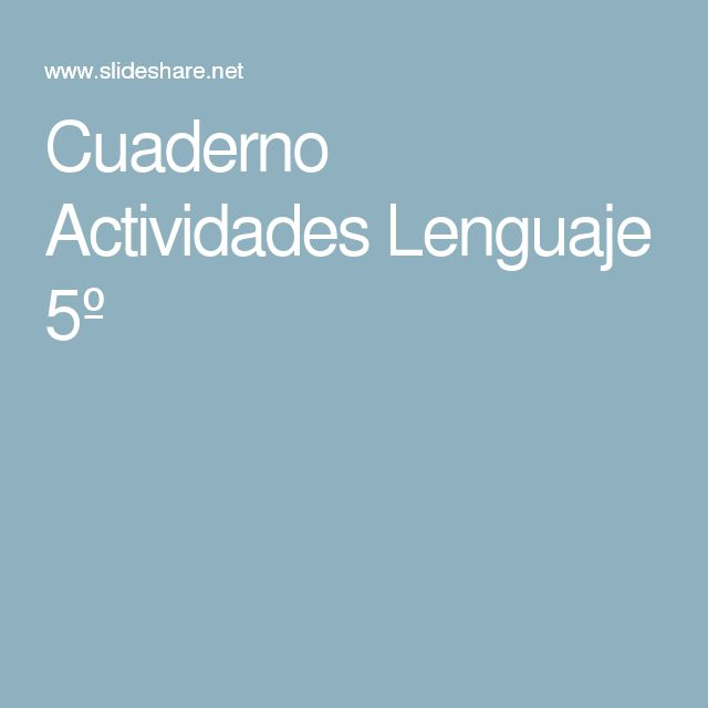 Cuaderno Actividades Lenguaje 5º