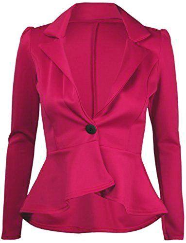 Forever Womens Plain Peplum One Button Frill Coat Blazer Top