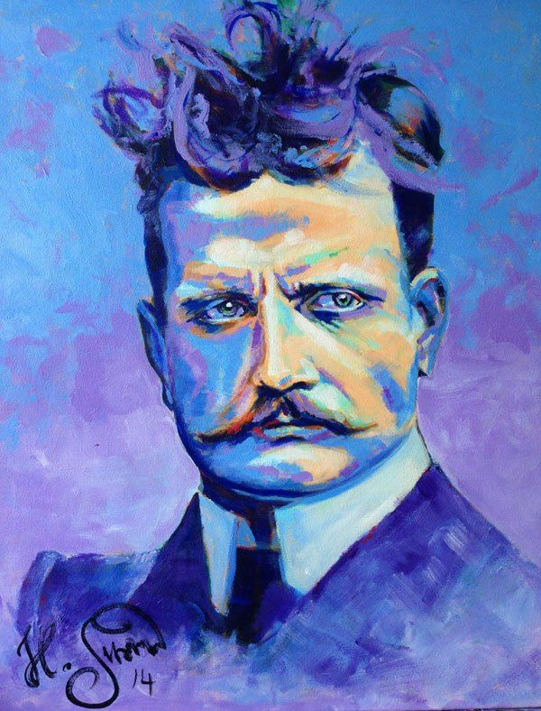 The great Finnish composer Jean Sibelius by Heikki Sivonen | Acryl on canvas 55x46cm | #colors #powerful #portrait | www.heikkisivonen.com