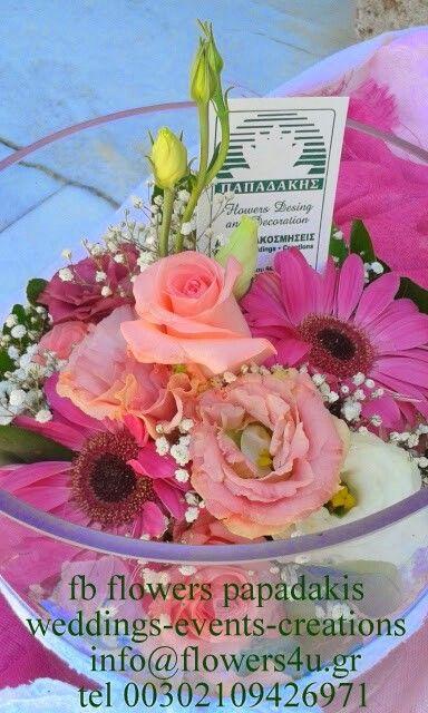 Διακόσμηση με ροζ άνθη για την  βάπτιση της μικρής πριγκίπισσας