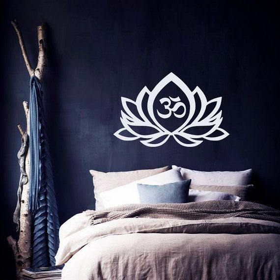 Wall Decal  Lotus Flower Om Sign Symbol  Vinyl Sticker Mural Yoga Zen  Meditation  Buddha Bohemian Eastern Art Bedroom  Home Décor M218