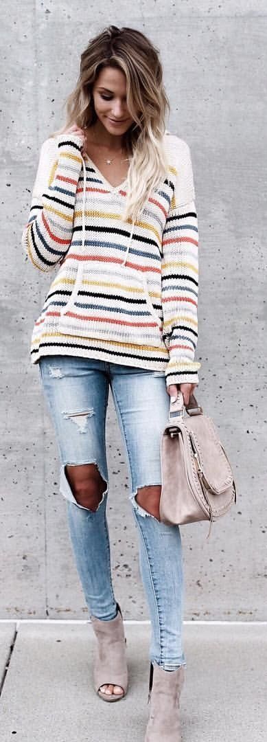 #fall #outfits Winnie Knit Pullover + Destroyed Skinny Jeans