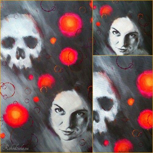 Obraz 'She's here allready' 'Ona jest już tutaj'. Akryl na płótnie. 40x60 cm. Cena 350 zł. #woman #skull #death #kobieta #czaszka #śmierć #dakini