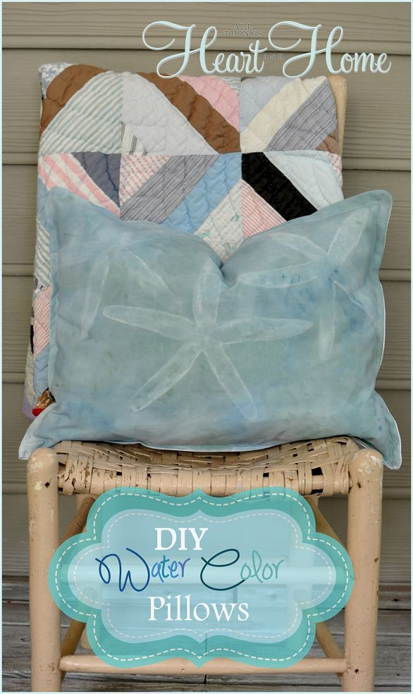 DIY Coastal-Inspired Water Color Pillows that ANYONE can do!