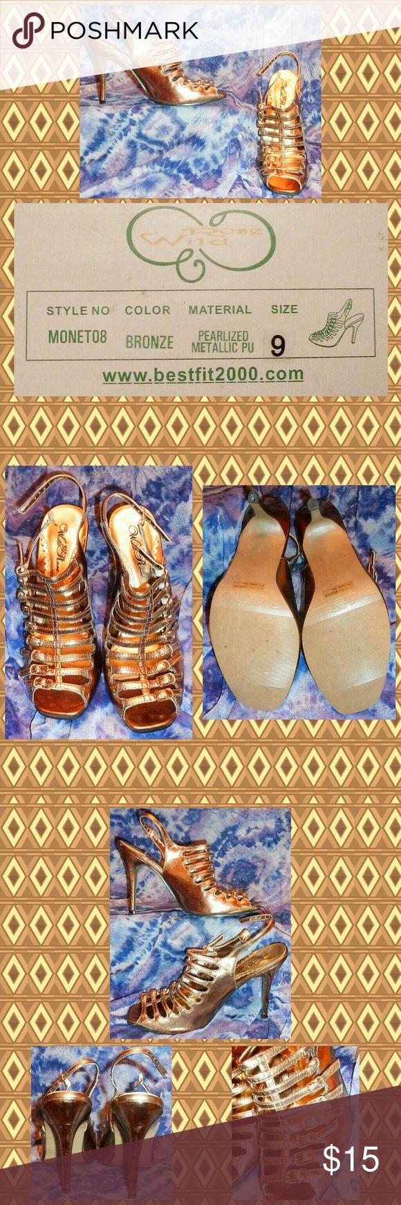 Selling this Shiny Bronze Pearlized Metallic Strappy Heels 9M on Poshmark! My username is: gothicbluecj. #shopmycloset #poshmark #fashion #shopping #style #forsale #Wild Rose #Shoes