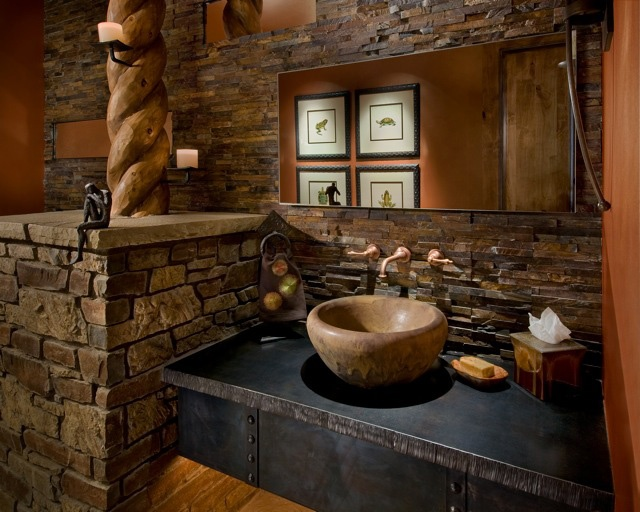 Gallery For Photographers Contemporary Powder Room Contemporary Bath Vanity Next To Stone Wall And Stone Sink With Wooden Framed Mirror Design Pictures Remodel Decor and Ideas