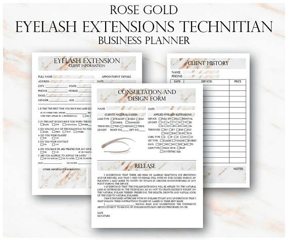 Rose Gold Eyelash Extension Client Forms, Printable Client