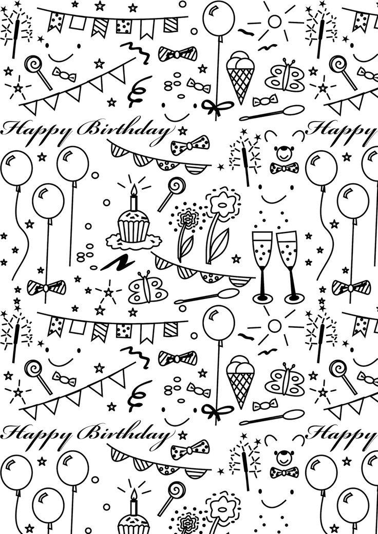 Free printable birthday coloring paper – ausdruckbares Geschenkpapier – freebie
