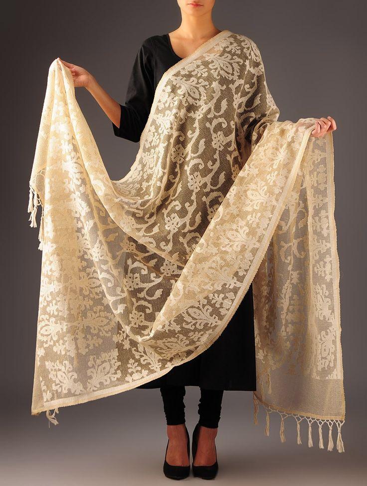 Beige Banarasi Tissue Dupatta - Buy Accessories > Dupattas > Beige Banarasi Tissue Dupatta Online at Jaypore.com