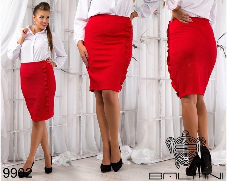 Юбка с воланом приталенная большой размер красная