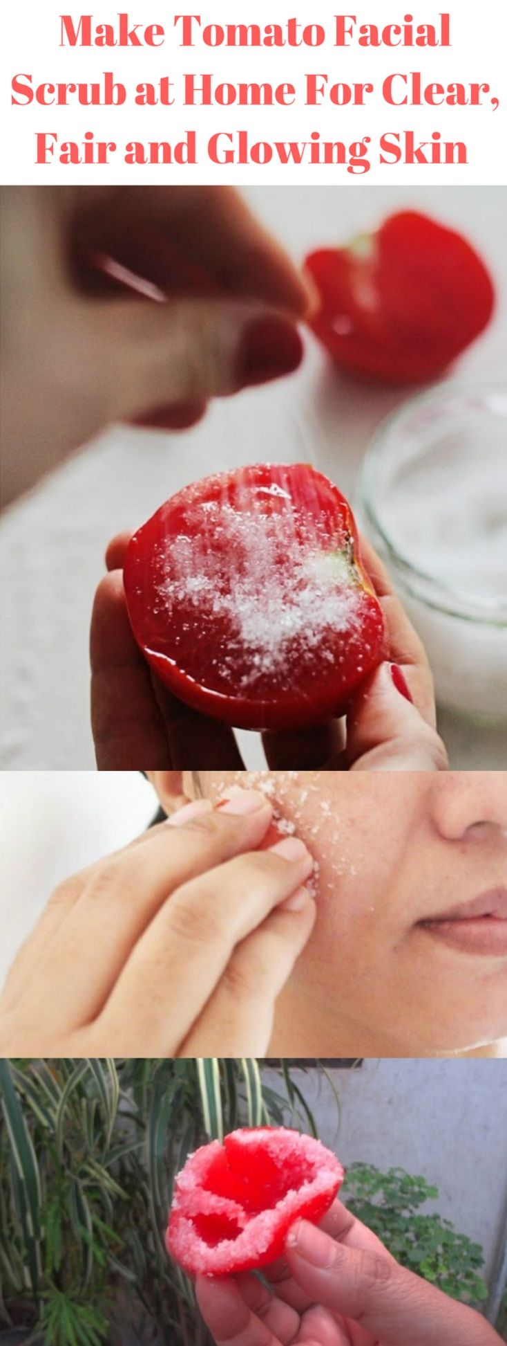 Make Tomato Facial Scrub at Home For Clear, Fair a… #Health #Wellness #Fitness #Tips #Food #Motivation #Remedies #Natural #Mental #Holistic #Skin #Woman's #Facts #Care #Lifestyle #Detox #Beauty #Diet #Body #Nutricion #Skincare #NaturalTreatments #HealthyLifestyle