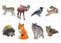 Карточки с животными леса