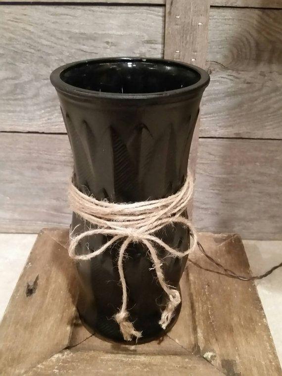 Black NIGHT Light Up-cycled Vase Light Nightlight by Rustic4You