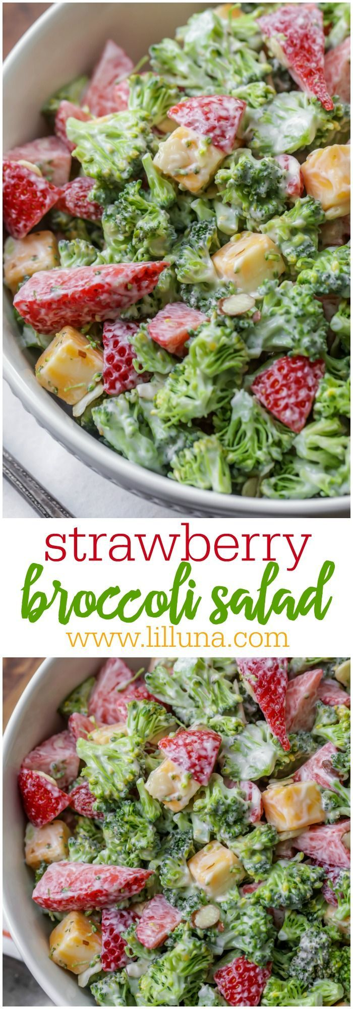 Strawberry Broccoli Salad - this unexpected combination makes for the perfect summertime salad! And it only takes a handful of ingredients! Broccoli florets, cojack cheese, and sliced strawberries, and almonds all tossed in a delicious dressing.