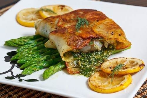 Cod Wrapped In Crispy Potatoes With Dill Caper Sauce